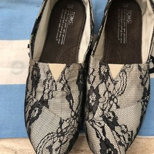TOMS Classic Black Lace Shoes